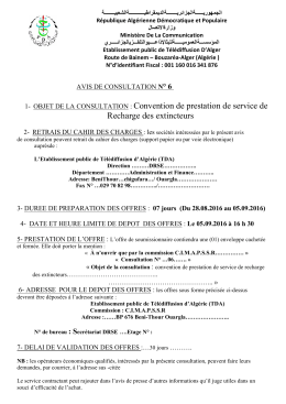 1- OBJET DE LA CONSULTATION : Convention de prestation de