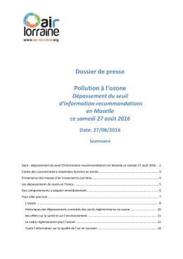 Dossier de presse Pollution à l`ozone
