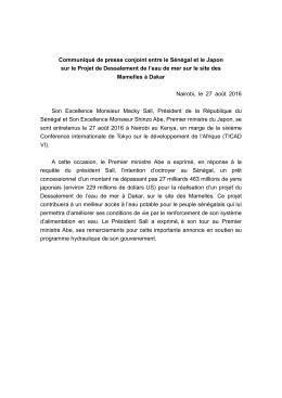 Communiqué de presse conjoint entre le Sénégal et le Japon sur le