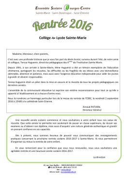 d`infos - Ensemble Scolaire Bourges Centre