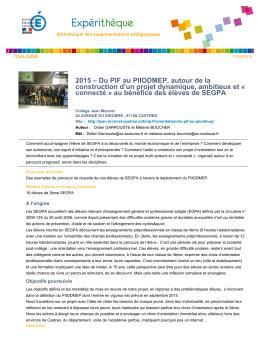 2015 – Du PIF au PIIODMEP, autour de la construction d`un projet