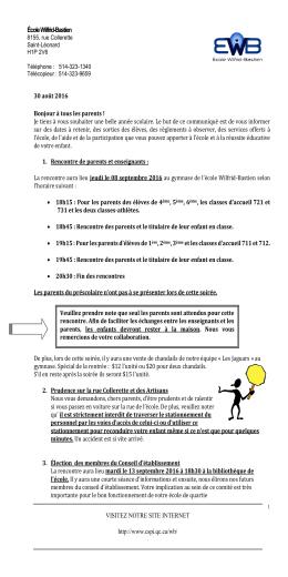 Communiqué septembre 2016 - École Wilfrid