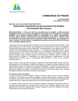 Subvention importante du gouvernement du Québec et lancement des