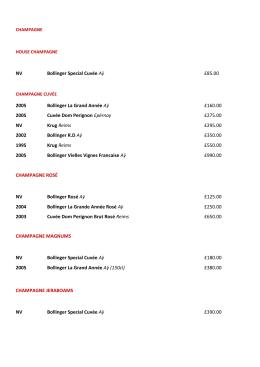NV Bollinger Special Cuvée Aӱ £85.00 2005 Bollinger La Grand