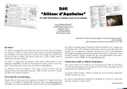 """Défi """"Aliénor d`Aquitaine"""""""