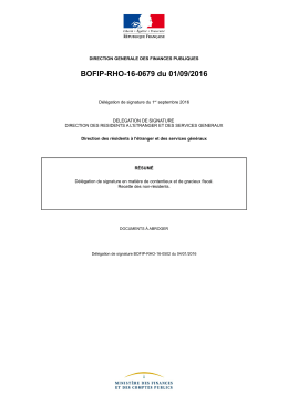 BOFIP-RHO-16-0679 du 01/09/2016 : Délégation de signature