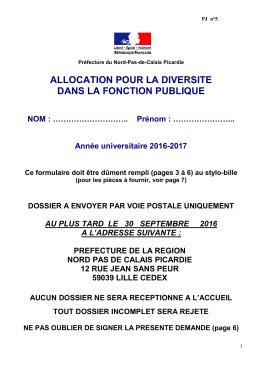 ALLOCATION POUR LA DIVERSITE DANS LA FONCTION PUBLIQUE