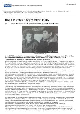 Dans le rétro : septembre 1986
