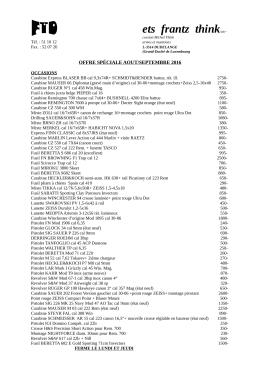 Armes et Munitions Offres Spéciales du Mois - FSHCL