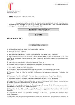 Ordre du jour du Conseil communal du 30 août 2016