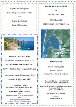Programme septembre - Bienvenue sur le site de Loisir Amical et