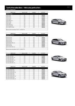 Liste des prix de base des modèles Mercedes-Benz