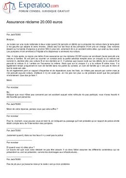 Assurance réclame 20.000 euros