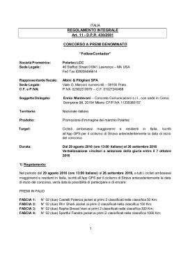REGOLAMENTO INTEGRALE Art. 11 - DPR 430