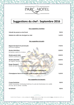 Suggestions du chef : Septembre 2016 - Parc