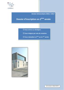 """Télécharger le fichier PDF """"Dossier d inscription en 2eme annee"""""""