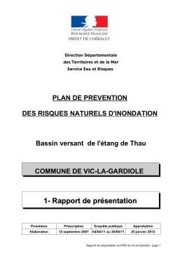 Rapport de présentation PPRI Vic la Gardiole