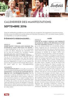 Calendrier deS manifeStationS