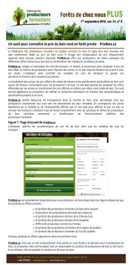 PrixBois.ca - Fédération des producteurs forestiers du Québec