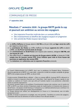 COMMUNIQUÉ DE PRESSE Résultats 1er semestre 2016
