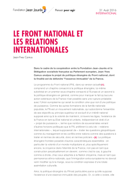 LE FRONT NATIONAL ET LES RELATIONS INTERNATIONALES