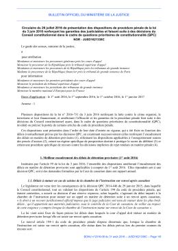 Circulaire du 26 juillet 2016 - Justice / Textes et réformes