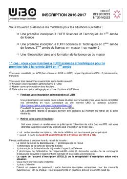 Modalités d`inscription et de réinsciption licence et master 2016-2017