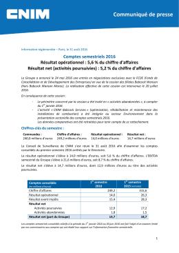 Comptes semestriels 2016 Résultat opérationnel : 5,6 % du