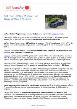 Fiat Tipo Station Wagon : un break compact à prix