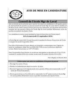Avis de mise en candidature - Conseil des écoles fransaskoises