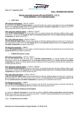 CCFA : INFORMATION PRESSE Marché automobile français (VP