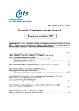 Programme statistique 2017 de la Commission Entreprises et