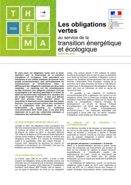 Les obligations vertes au service de la transition énergétique et