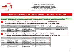 BOD 21-2016 - Fédération Suisse de Inline Hockey