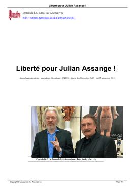 Liberté pour Julian Assange - Le Journal des Alternatives