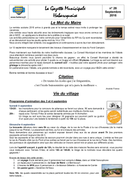 La gazette – 026 – Septembre 2016