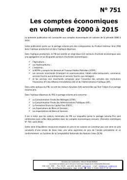 3. Les Comptes Economiques En Volume de 2000 à 2015