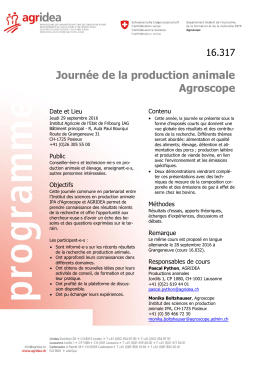 Journée de la production animale Agroscope