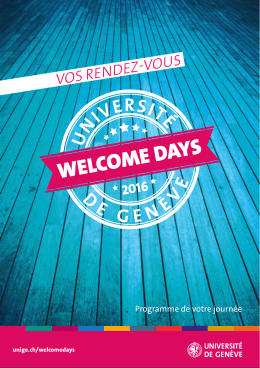 Le programme des Welcome Days 2016 en PDF