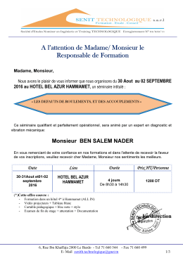 A l`attention de Madame/ Monsieur le Responsable de Formation