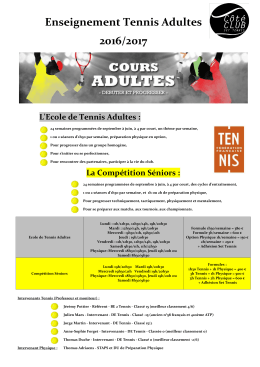 Enseignement Tennis Adultes 2016/2017