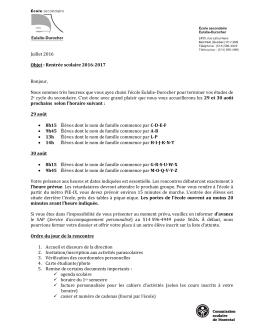 Lettre Invitation à la rentrée 2016-2017 - École Eulalie