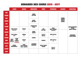 horaires des cours 2016 - 2017