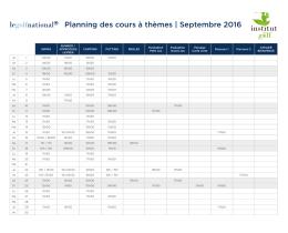 Planning des cours à thèmes   Septembre 2016