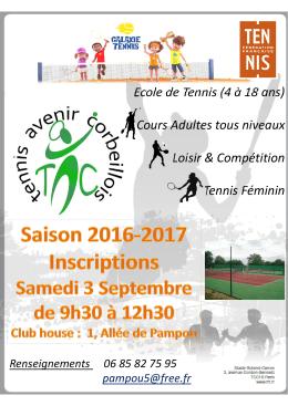 Ecole de Tennis (4 à 18 ans) Cours Adultes tous niveaux Loisir