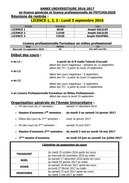 Calendrier licence de psychologie 2016-2017