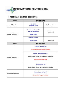 INFORMATIONS RENTREE 2016