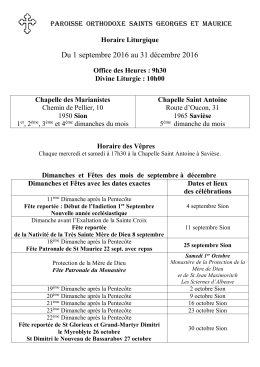 Calendrier à télécharger - Paroisse Orthodoxe Saints Georges et