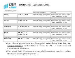 HORAIRE – Automne 2016