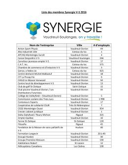 Liste des membres Synergie V-S 2016 Nom de l`entreprise Ville # d